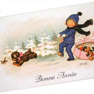 クリスマス フランスポストカード (Bonne Annee A)