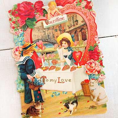 USA 3D バレンタインディーカード・封筒付 【Hart shop 〜Lサイズ】