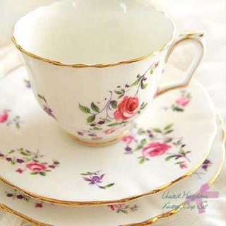 陶器 食器 イギリス BONE CHINA アンティークカップ・トリオセット【Pink&Purple】