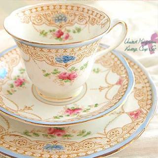 陶器 食器 イギリス BONE CHINA アンティークカップ・トリオセット【Pink&Blue】