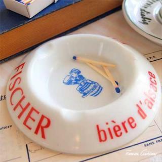 陶器 食器 フランス アンティーク トリコロールカラー アッシュトレイ 灰皿