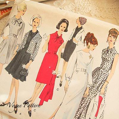 アメリカ 1960年代 ヴィンテージ 洋服の型紙 VOGUE Pattern【Red×monotone】【画像2】