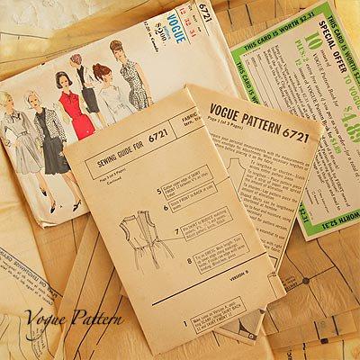 アメリカ 1960年代 ヴィンテージ 洋服の型紙 VOGUE Pattern【Red×monotone】【画像3】