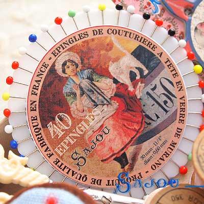 フランス SAJOU カラフルガラスビーズ まち針セット【PINS-6 】【画像3】