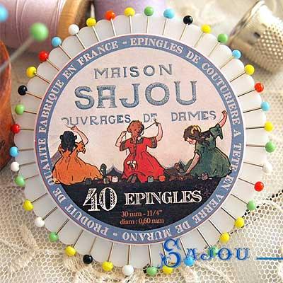フランス SAJOU カラフルガラスビーズ まち針セット【PINS-5 】