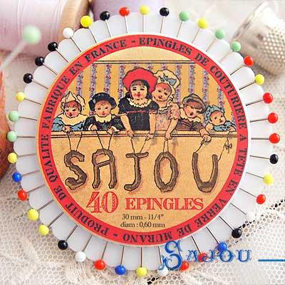 フランス SAJOU カラフルガラスビーズ まち針セット【PINS-4 】