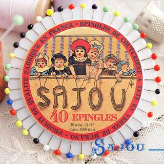 SAJOU(サジュー)手芸 フランス SAJOU カラフルガラスビーズ まち針セット【PINS-4 】