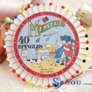フランス SAJOU カラフルガラスビーズ まち針セット【PINS-3 】