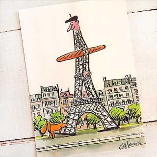 かわいい雑貨 フランス エッフェル塔 ポストカード (Monsieur de la tour eiffel A)