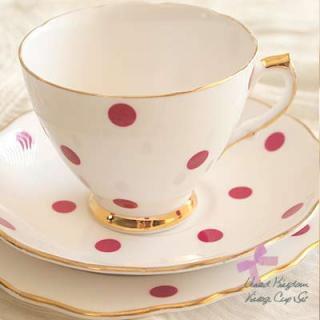 陶器 食器 イギリス BONE CHINA アンティークカップ・トリオ【POLKA DOT】