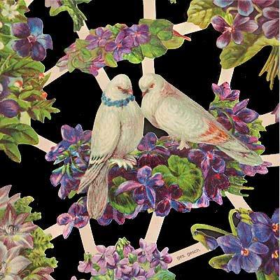 ドイツ クロモス【M】<フラワーと番の鳥>