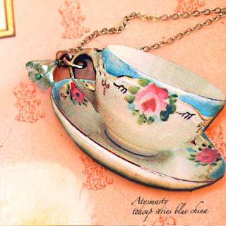 Creators/ハンドメイド作品 アクセサリー (ネックレス) 【teacup series blue china】〜artysmarty