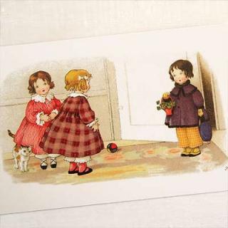 ガーリー 雑貨 フランスポストカード 訪問 犬(Bienvenue B)