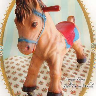アンティーク USA ヴィンテージ ホース トイ(馬 車輪付 おもちゃ)【Vintage Horse Toy】送料無料