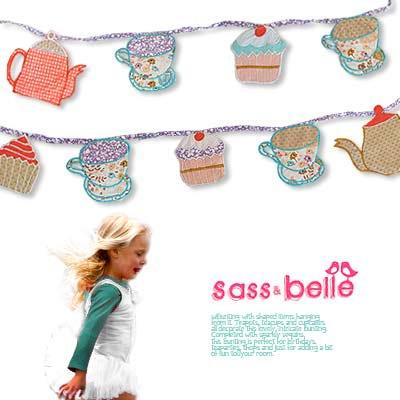 イギリス sass & belle ヴィンテージファブリック ガーランド【Tea Time】