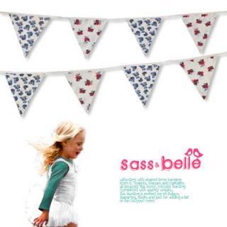 パーティー雑貨 イギリス sass & belle ヴィンテージファブリック ガーランド【twin rose】