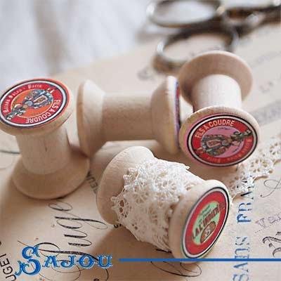 フランス SAJOU (木製ボビン 糸巻き4ケセット)【BOB-6】【画像2】