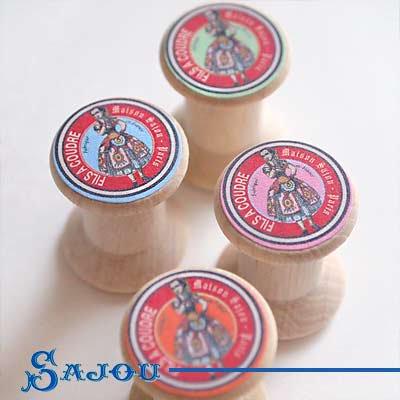 フランス SAJOU (木製ボビン 糸巻き4ケセット)【BOB-6】【画像3】