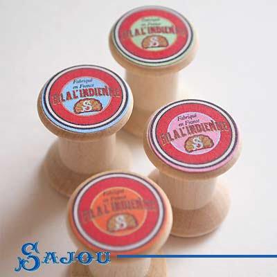 フランス SAJOU (木製ボビン 糸巻き4ケセット)【BOB-6】【画像4】