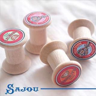 フランス SAJOU (木製ボビン 糸巻き4ケセット)【BOB-6】