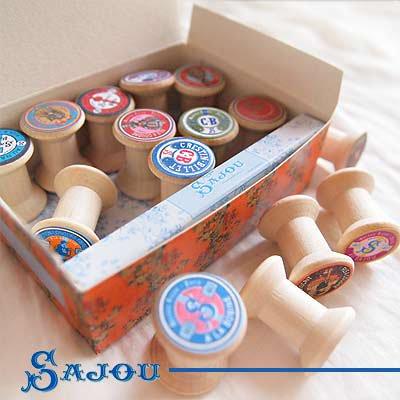 フランス SAJOU (木製ボビン 糸巻き BOX 15ケセット)【BOB-8】【画像4】