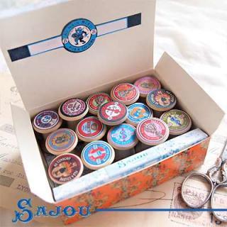 フランス SAJOU (木製ボビン 糸巻き BOX 15ケセット)【BOB-8】