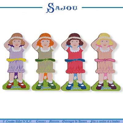 フランス SAJOU (糸巻き カード リトルガール パステル)【CF-102】