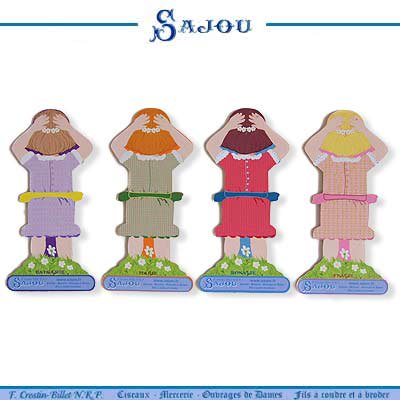 フランス SAJOU (糸巻き カード リトルガール パステル)【CF-102】【画像4】