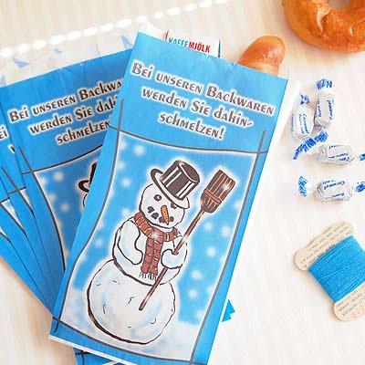 マルシェ袋 ドイツ 海外市場の紙袋(雪だるまA) 5枚セット【画像2】
