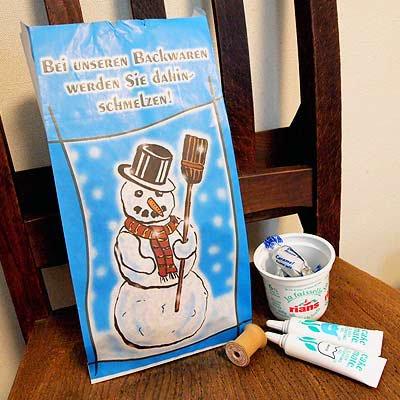 マルシェ袋 ドイツ 海外市場の紙袋(雪だるまA) 5枚セット【画像4】