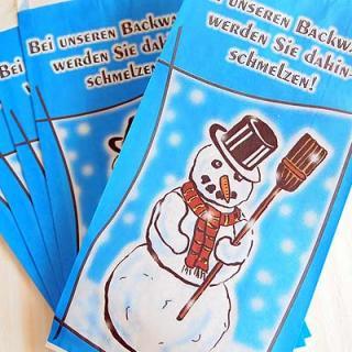 雑貨店でみつけたかわいい文房具 掲載雑貨 おすすめ雑貨 マルシェ袋 ドイツ 海外市場の紙袋(雪だるまA) 5枚セット