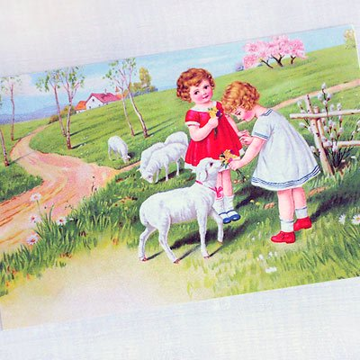 フランスポストカード (Fille et moutons)