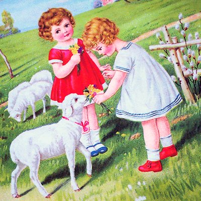 フランスポストカード (Fille et moutons)【画像3】