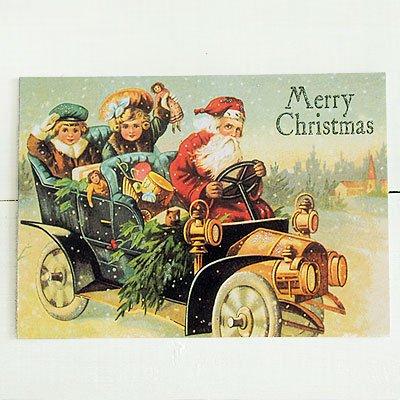 ドイツ クリスマス ポストカード・ラメ付き (Classic car)【画像2】