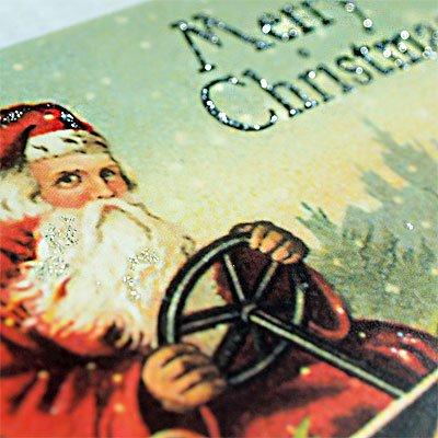 ドイツ クリスマス ポストカード・ラメ付き (Classic car)【画像3】