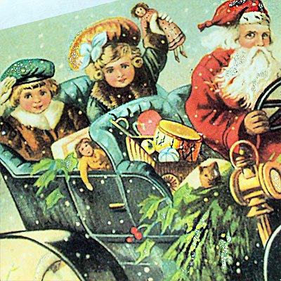 ドイツ クリスマス ポストカード・ラメ付き (Classic car)【画像4】