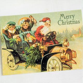 ドイツ クリスマス ポストカード・ラメ付き (Classic car)