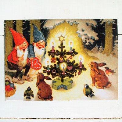 ドイツ クリスマス ポストカード・ラメ付き (Kaninchen und Santa Claus)【画像2】