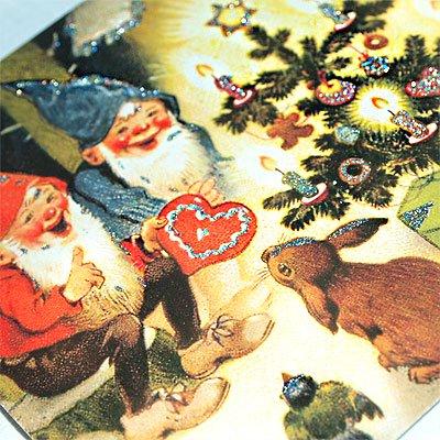 ドイツ クリスマス ポストカード・ラメ付き (Kaninchen und Santa Claus)【画像3】