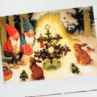 ドイツ クリスマス ポストカード・ラメ付き (Kaninchen und Santa Claus)