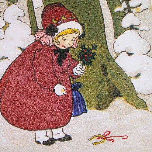 フランス クリスマスポストカード 蹄鉄 楓 馬蹄(Joyeux Noel L)【画像3】