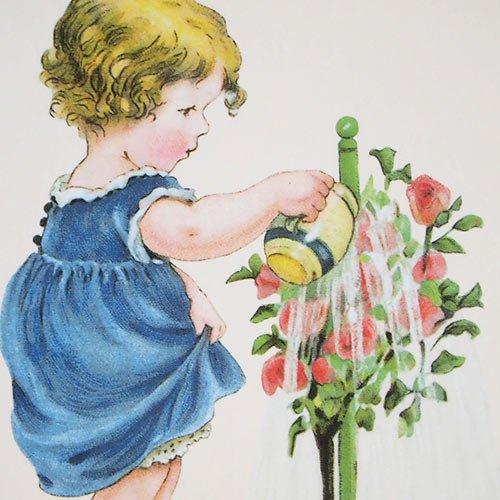 フランスポストカード (arroser des fleurs)