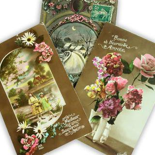 アンティーク フランス アンティーク ポストカード3枚セット【Fille et fleurs A】