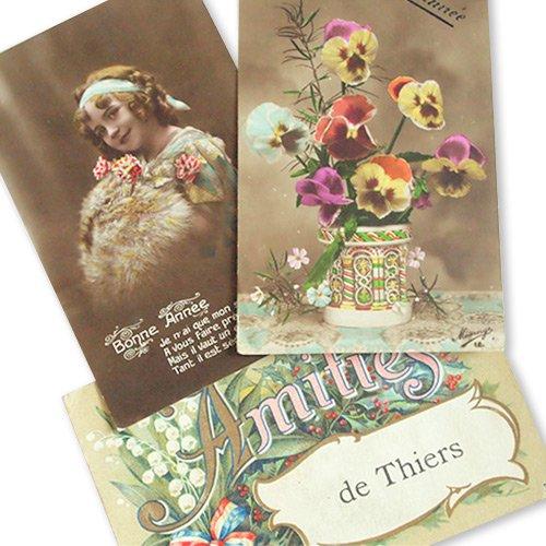 フランス アンティーク ポストカード3枚セット【Fille et fleurs B】