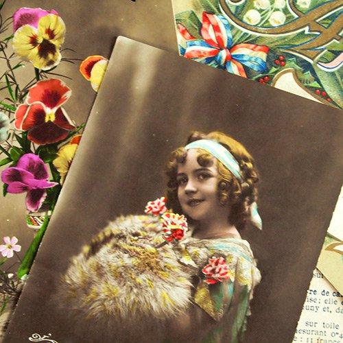 フランス アンティーク ポストカード3枚セット【Fille et fleurs B】【画像3】