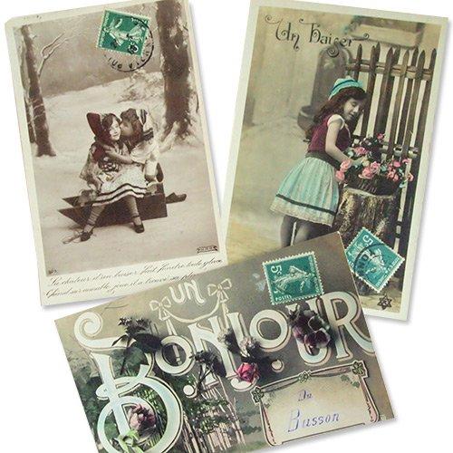フランス アンティーク ポストカード3枚セット【bonjour】