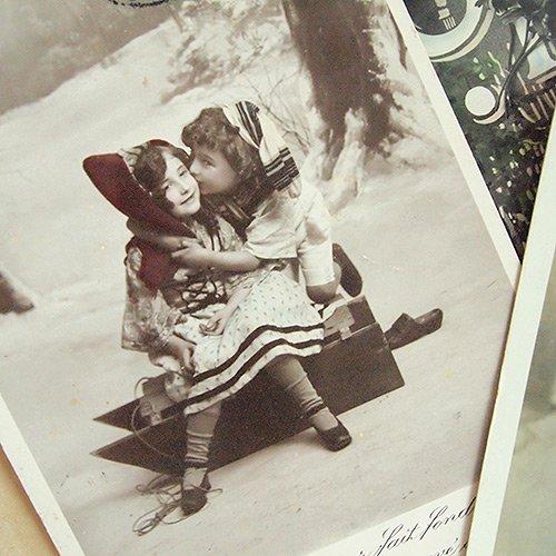 フランス アンティーク ポストカード3枚セット【bonjour】【画像3】