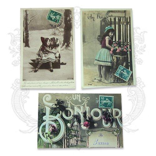 フランス アンティーク ポストカード3枚セット【bonjour】【画像4】