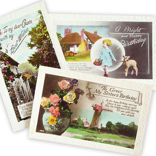 イギリス アンティーク ポストカード3枚セット【Fille et moutons】