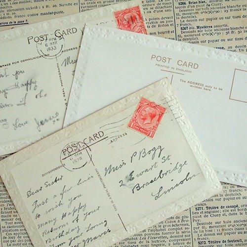 イギリス アンティーク ポストカード3枚セット【Fille et moutons】【画像2】